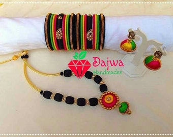 Silk thread Jewelery set - jhumkas, bangles and necklace.
