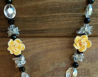 Handmade Orange Rose Crystal Jewelry Set