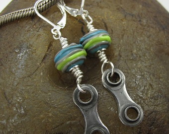 Bicycle Jewelry, Recycled Bicycle Chain Earrings, Bike Chain Jewelry