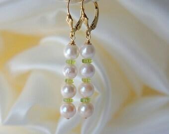 Peridot Akoya pearl earrings gold filled Peridot Akoya pearl earrings
