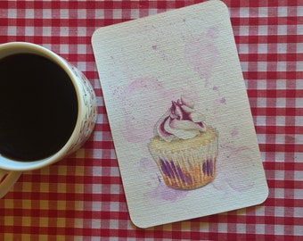 Blueberry cupcake postcard