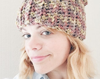 Ribbed slouchy beanie in earthy tones