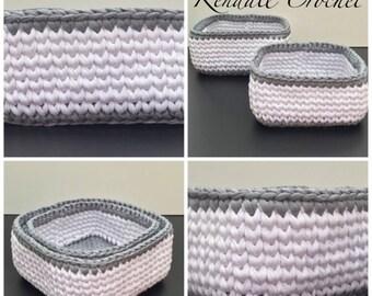 ON SALE Crochet Baskets (2) Square