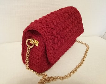 Red crochet clutch