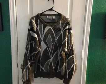 Vintage oversized sweater (tan/black/white)