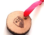 Happy Hedgehog  Ornament - woodburning pyrography Christmas decorations