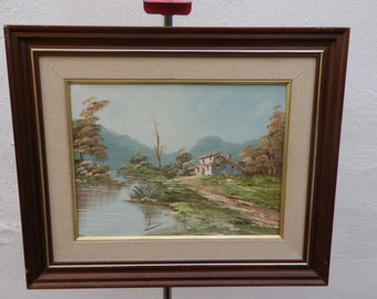 Spanish vintage oil painting, landscape