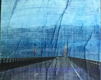 Abstract Landscape, River, Bridge, Original, Mixed Media Art, Water, Surreal, Nature, Photography, Abstract Art Decor, Photo Transfer, Road