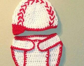 Baseball hat, Diaper cover, Crochet, Handmade, 0-3 Months