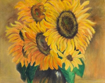 Original hand painted acrylic painting Sunflowers made by SARMITE ALKSNE. Size 16 x 20 inches.