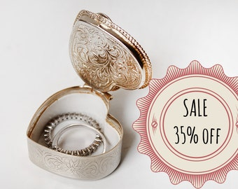 SALE 35% off - Wedding Ring Box, Heart Shaped Silver Vintage Trinket Box With Flower Motif