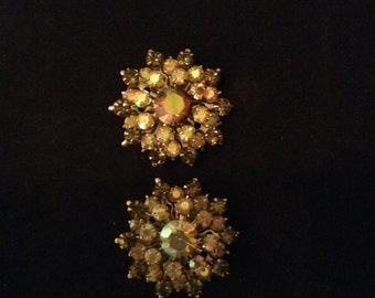 Shiny and New Rhinestone Clip Vintage Earrings