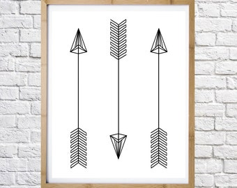 Three arrows digital print, minimal art, graphic design, printable art, instant download, wall decor