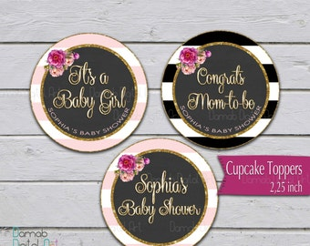 Baby shower cupcake toppers, baby shower girl party circles, printable cupcake toppers, pink gold glitter party circles, baby shower party p