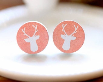 Pink and White Wooden Moose Earrings