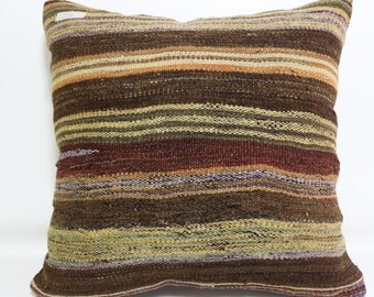 Floor Pillow 20x20 Turkish Striped Pillow Boho Pillow Decorative pillow Kilim Pillow Cushion Ethnic Pillow Brown Kilim Pillow SP5050-929