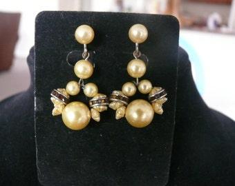 Beautiful Dangle Bead & Amber Rhinestone Accent Screw Back Earrings