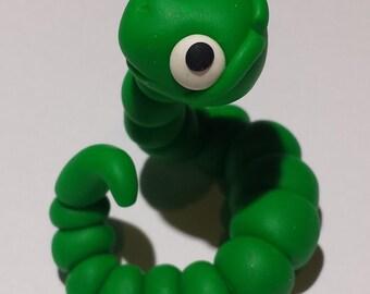Terrarium / fairy miniature green cute worm figurine statue  (Polymer Clay)