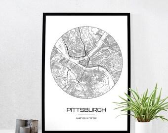 Pittsburgh Map Print City Map Art Of Pittsburgh Pennsylvania Poster Coordinates Wall Art Gift