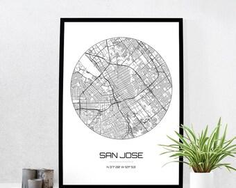 San Jose Map Print - City Map Art of San Jose California Poster - Coordinates Wall Art Gift - Travel Map - Office Home Decor