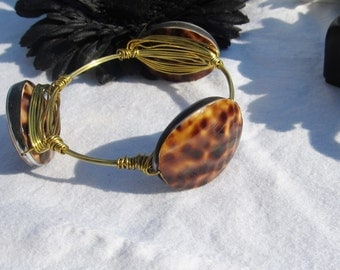 Large Leopard Print Gold toned Wire Wrapped Bangle Bracelet