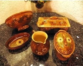 Alsatian ceramic ensemble five pieces
