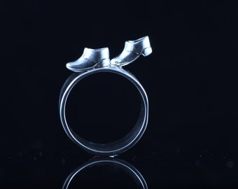 sterling silver shoe boot ring