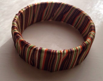 Fun Striped Ribbon Fabric Cuff Bracelet