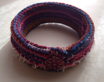 Fun Chenille Fabric Cuff Bracelet with Metal Button