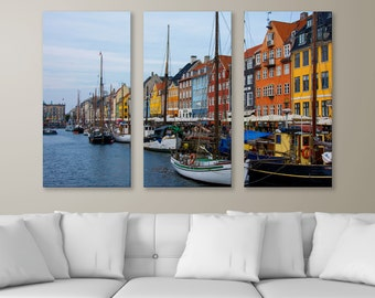 "Quaint Waters Edge in Copenhagen , 3-Panel Split Triptych Print, 1.5"" Deep Frame, Gallery Wrap, Hanging Canvas Home & Office Wall Art Decor"