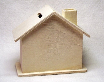 "Unfinished Wood Piggy Bank House - 4 1/2"" x 2 1/4"" x 4"""