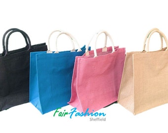 Jute Hessian Colourful Shopping Bag ( Large ) - Natural & Eco Friendly Bags