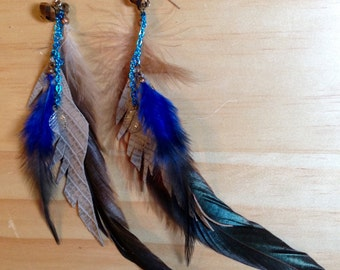 vintage leather + feather in tan + blue