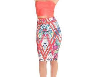 High Waisted Printed Bandage Skirt