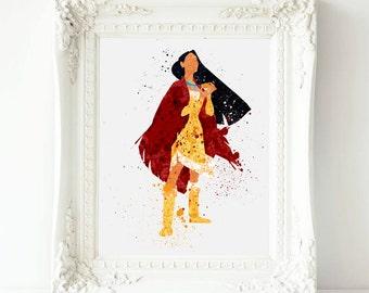 Disney Princess Print, Pocahontas  Watercolor Art, Princess  Pocahontas  Printable  Home Decor, Pocahontas print  watercolor art
