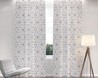 Geometric Curtains Etsy