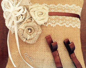 Wedding ring pillow lace and jute