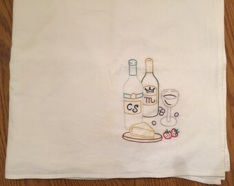 Hand embroidered dish towel