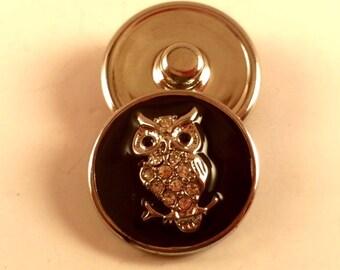 Black and Crystal Owl Snap Charm