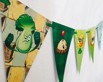 Plants Vs Zombies Party Bunting Banner. Party Supplies Hanging Decorations Bunting Flags