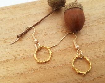 Forest Series- Branch Matt gold Drop earring
