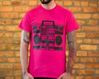"""SMALL """"Boom Box"""" T-shirt hot pink neon stereo radio ghettoblaster audio cassette 80s '80s 80's 1980s eighties 90s '90s 90's 1990s nineties"""