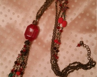 Striking Candy Apple Red Tasseled Necklace