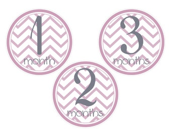 Baby's First Year/Monthly Baby Signs/Baby Girl/Pink Chevron/Instant Download