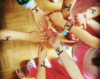 "10 custom tattoo ' HAPPY 'age' + FirstName ""birthday child (customizable, temporary tattoo, evening, incidental, ephemeral)"