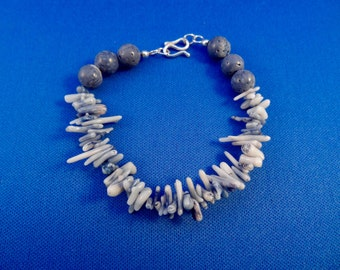 Blue Coral Bracelet with Sterling Silver Clasp