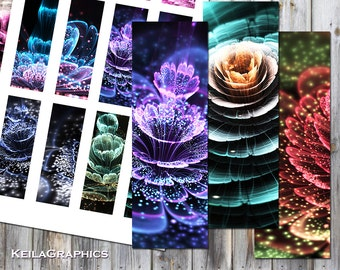 """Digital Collage Sheet - Instant Download - Rectangle Microscope Slide Size 1x3"""" - Printable Images - Fractal Flowers"""