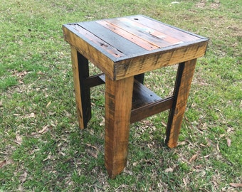 Reclaimed Wood End Table Hand Crafted