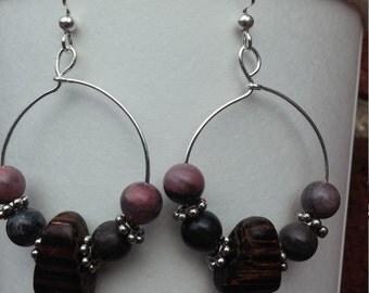 silver wooden bead earrings