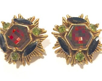 Vintage signed Florenza amber, green clip on earrings